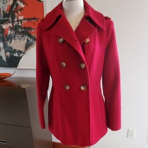 Michael Kors Classic Wool Red Pea Coat S